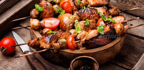 Grilled shish kebab on skewers - Stock Photo - Images