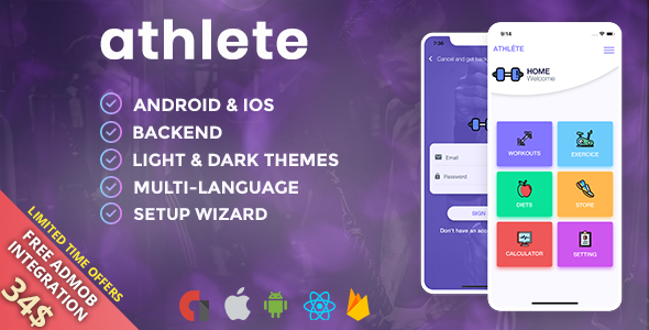 Athlete – Fitness & Workout Mobile App for iOS and Android with Admin  Panel, Languages & Themes