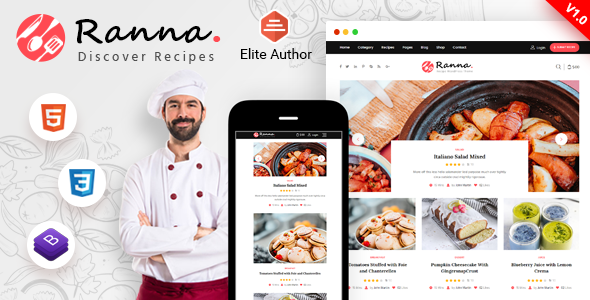 Ranna - Food & Recipe Blog Bootstrap 4 Template