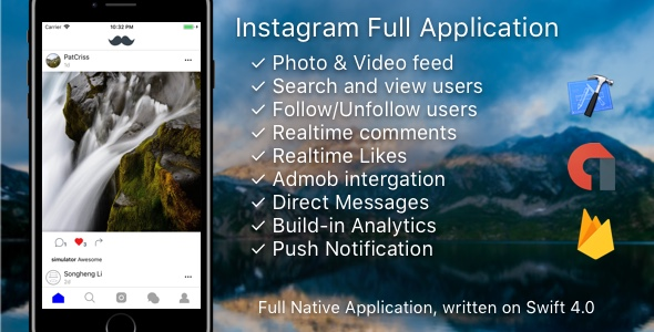 Instagram Mobile Template + Messages + AdMob + PushNotifications + Web (Photo/Video) v.3 - CodeCanyon Item for Sale