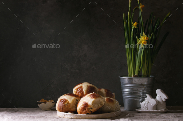 Easter hot cross buns - Stock Photo - Images