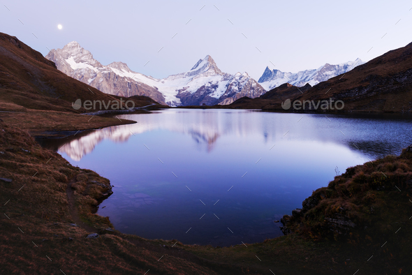 Picturesque view on Bachalpsee lake - Stock Photo - Images