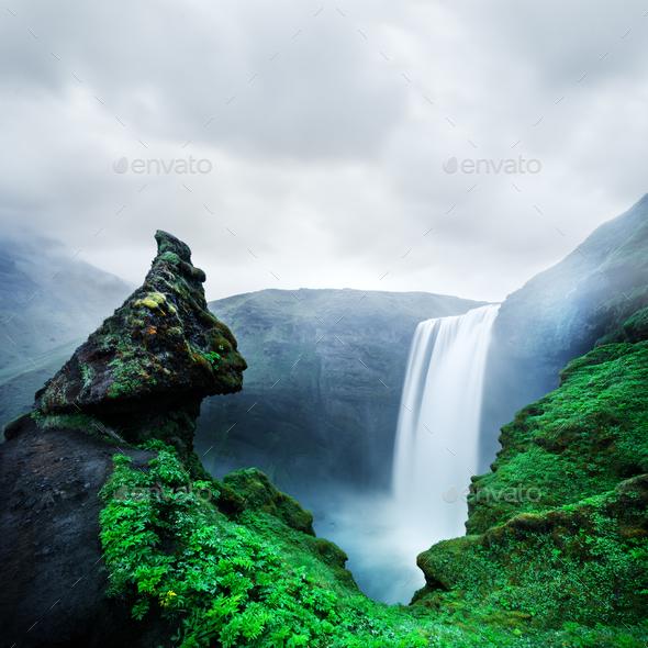 Famous Skogafoss waterfall - Stock Photo - Images