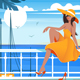 Young Girl on Wharf Near Sea - GraphicRiver Item for Sale