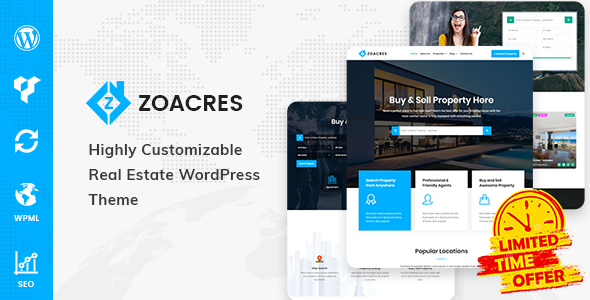 Zoacres – Real Estate WordPress Theme Free Download