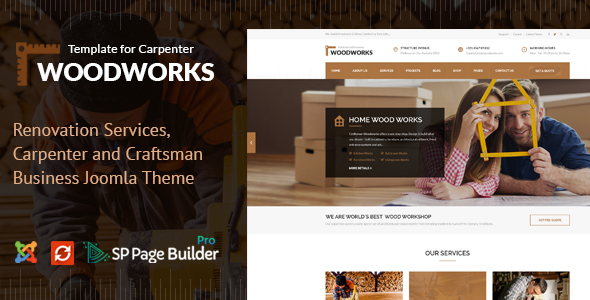 Wood Works - Renovation Services, Carpenter and Craftsman Business Joomla Theme