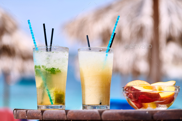 Two cocktails at tropical beach - Stock Photo - Images