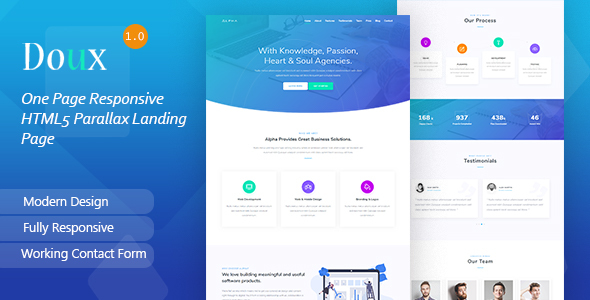 Doux - One Page Responsive HTML5 Parallax Landing Page