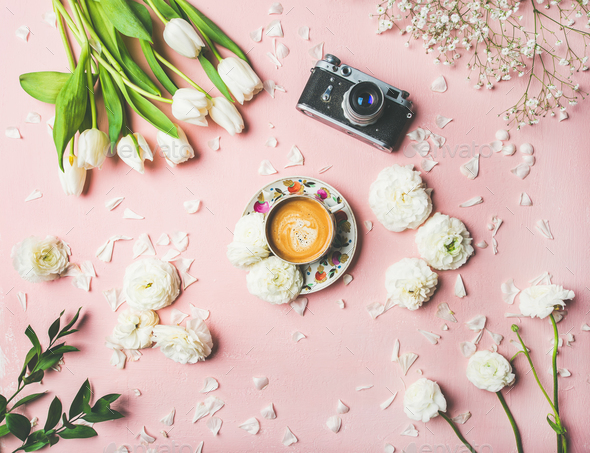 Spring layout with coffee, camera and white flowers - Stock Photo - Images