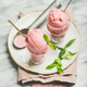 Homemade strawberry yogurt ice cream with fresh mint, square crop - PhotoDune Item for Sale