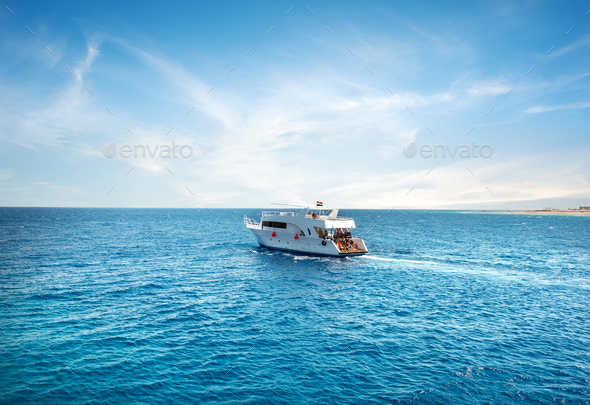 Pleasure boat in Sea - Stock Photo - Images