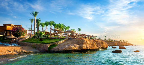 View on egyptian hotel - Stock Photo - Images