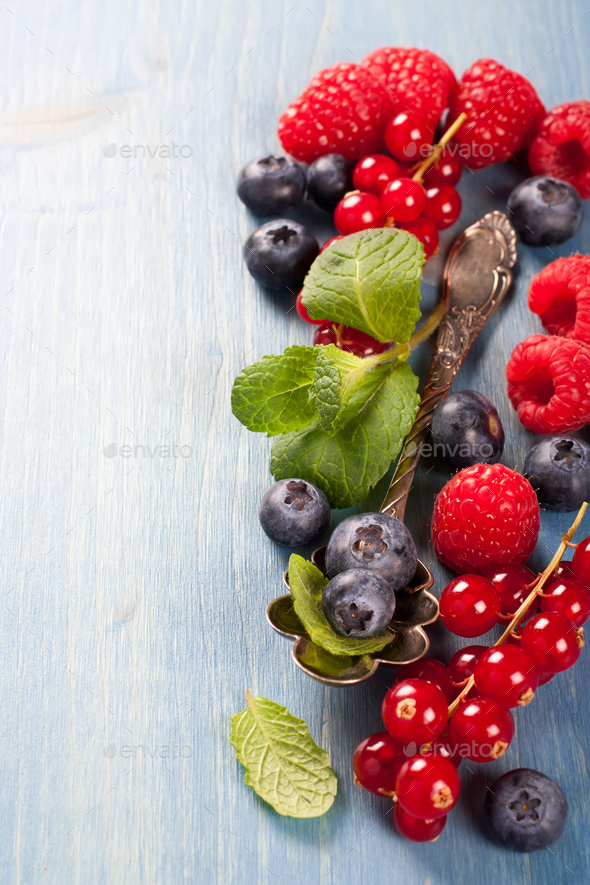 Berries mix with mint - Stock Photo - Images