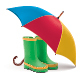 Gumboots and Open Umbrella - GraphicRiver Item for Sale