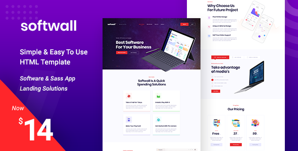 Softwall | Software SaaS Landing Page Template