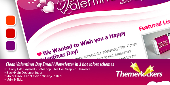 Free Download Valentines Day Clean Tri-color Email Templates Nulled Latest Version