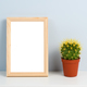 Cactus in pot and wooden photo frame on shelf - PhotoDune Item for Sale