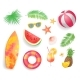 Summer Tropical Items Icons Vector Illustration - GraphicRiver Item for Sale