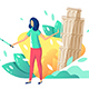 Tourist with Selfie Stick - GraphicRiver Item for Sale