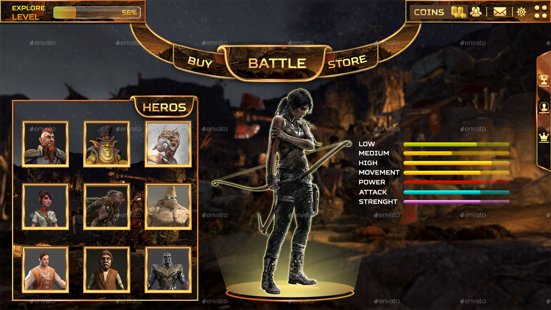 War and Combat Theme Game UI Pack