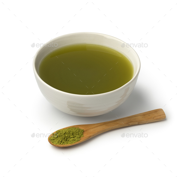 Cup of Japanese catechin powder tea - Stock Photo - Images