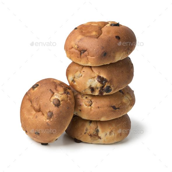 Stack of fresh baked raisin buns - Stock Photo - Images