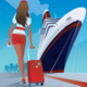 Girl at the Pier Goes to the Ship - GraphicRiver Item for Sale