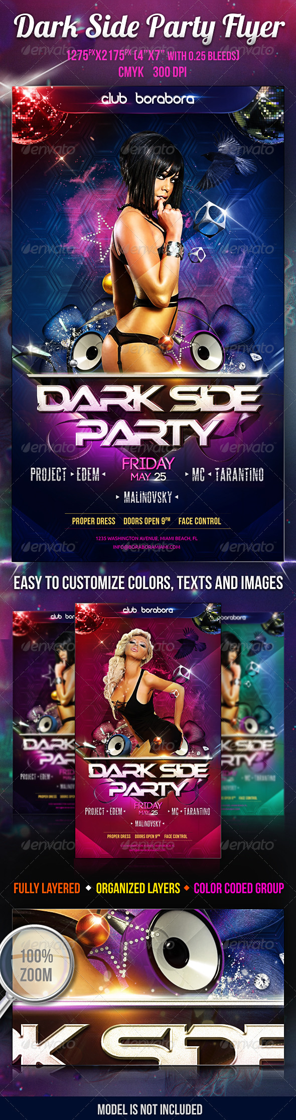 Dark Side Party Flyer PSD Template - Flyers Print Templates