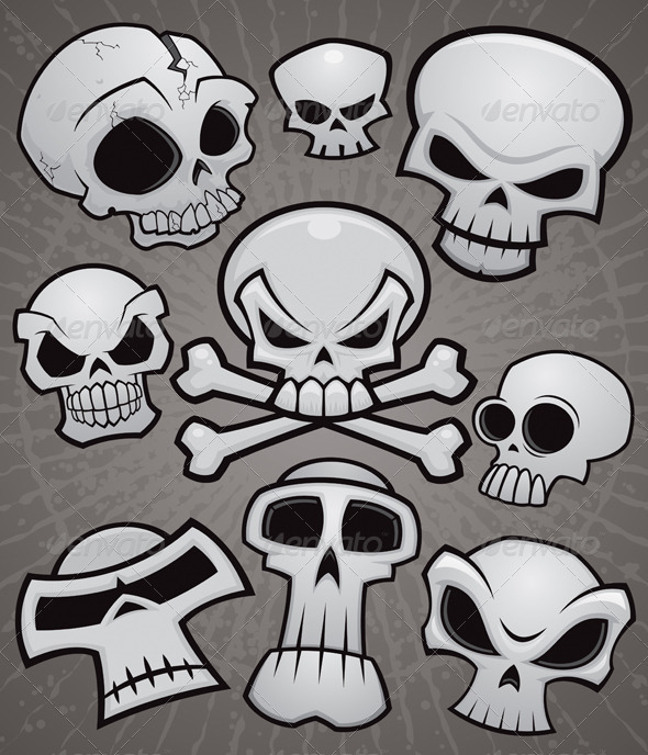 Cartoon Skull Collection - Characters Vectors
