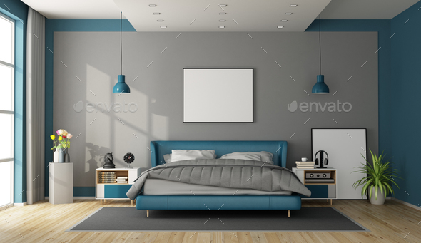 Blue and gray modern bedroom
