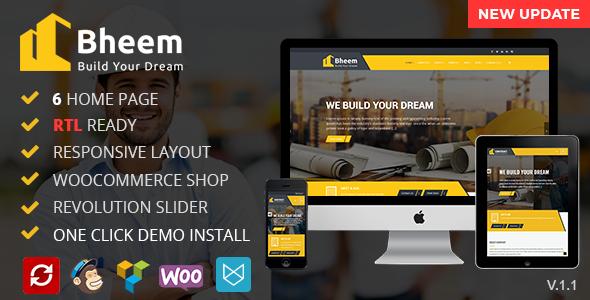 Bheem : Construction WordPress Theme RTL Ready - WordPress