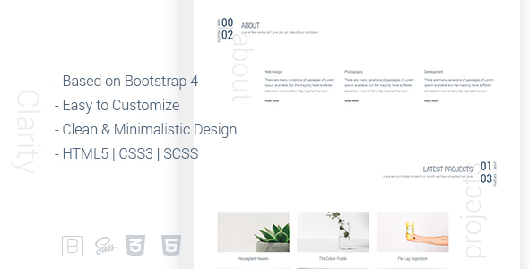 Clarity – Responsive Minimalistic Bootstrap 4 HTML Template