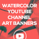 3 Minimal Watercolor Youtube Channel Art Banners - GraphicRiver Item for Sale