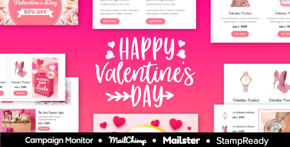 Valentine - Responsive Email Template 30+ Modules - StampReady + Mailster & Mailchimp