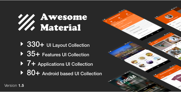Awesome Material (Google Android Material Design UI Components and Template Collection) 1.5 - CodeCanyon Item for Sale