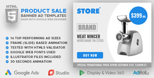 Store - Product Sale Animated HTML5 Banner Ad Templates (GWD)