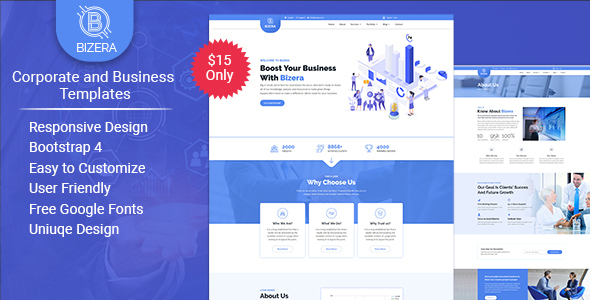 Bizera – Corporate and Business HTML Templates