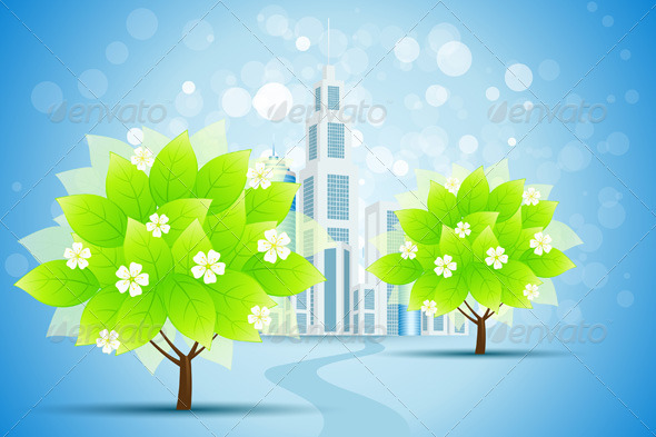 Blue Background with Business City and Trees - Conceptual Vectors