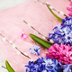Bouquet of beautiful flowers - blue and pink hyacinths and willo - PhotoDune Item for Sale