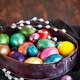 Easter colorful painted eggs and willow on dark rustic backgroun - PhotoDune Item for Sale