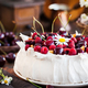 Delicious Pavlova meringue cake decorated with fresh raspberries - PhotoDune Item for Sale