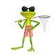 3D Illustration of a Frog with a Butterfly Net - GraphicRiver Item for Sale