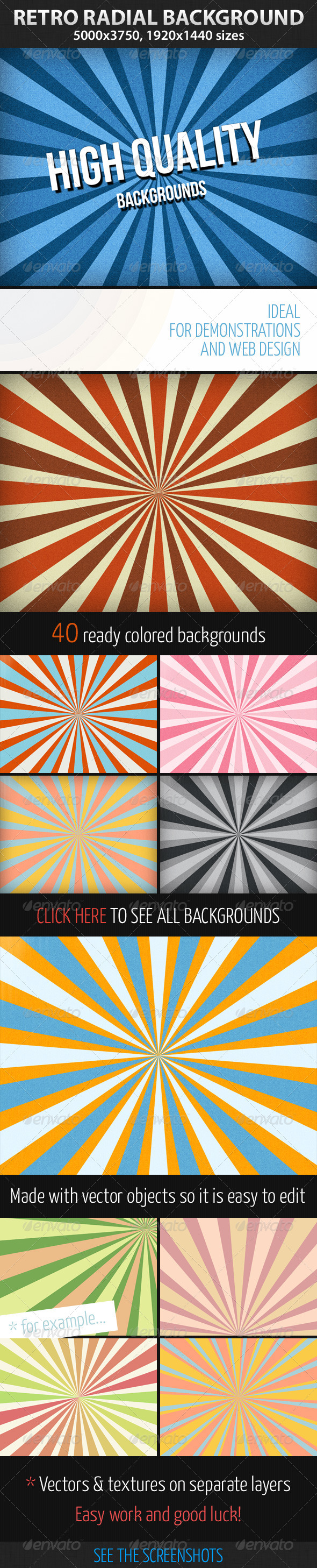Retro Radial Background - Backgrounds Graphics