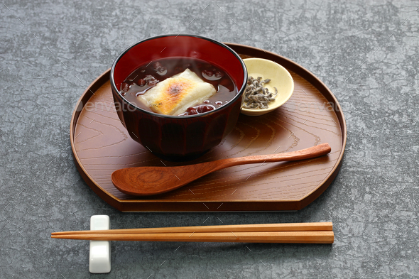 oshiruko, sweet red bean soup with grilled mochi (rice cake), japanese traditional dessert - Stock Photo - Images