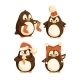 North Pole Cartoon Penguins in Warm Winter Cloth - GraphicRiver Item for Sale