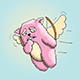Valentines Day Pink Cat Flying - GraphicRiver Item for Sale