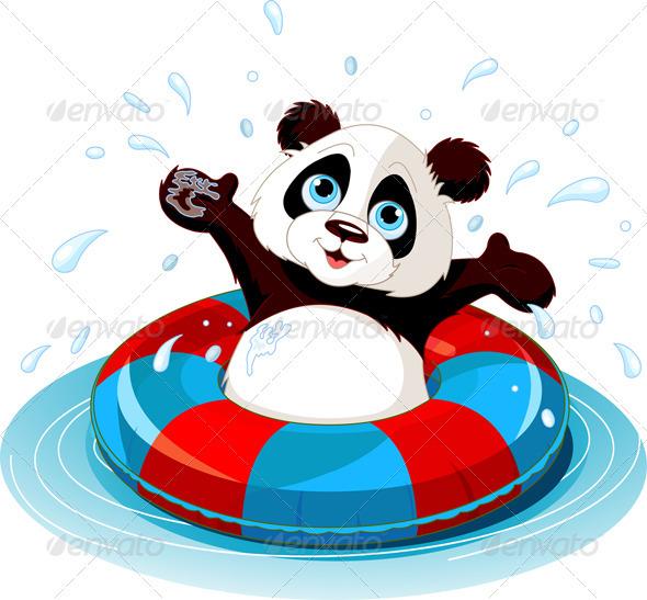 Summer fun Panda - Characters Vectors