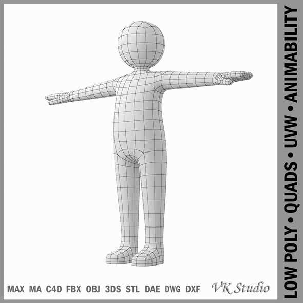 Adult Male Stickman in T-Pose - 3DOcean Item for Sale