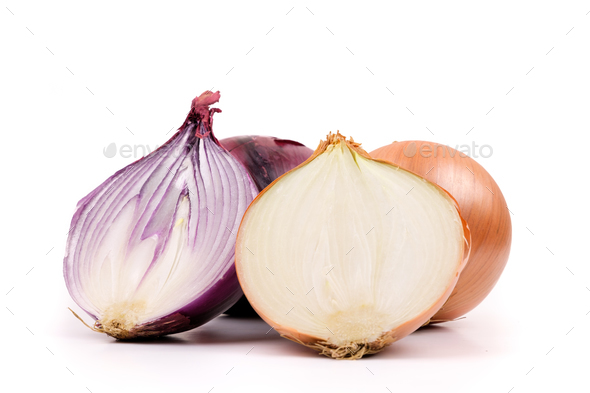 Ripe yellow and red onion on a white background - Stock Photo - Images