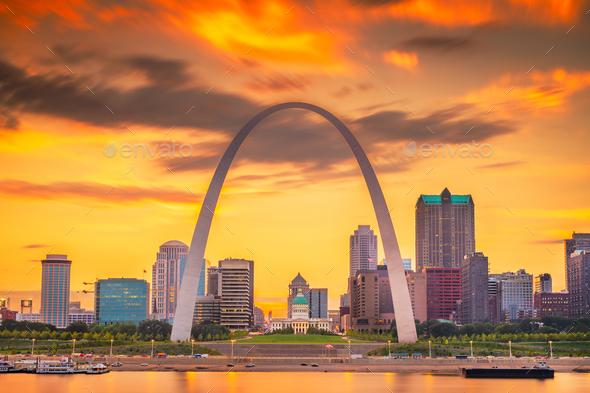 St. Louis, Missouri, USA downtown cityscape - Stock Photo - Images